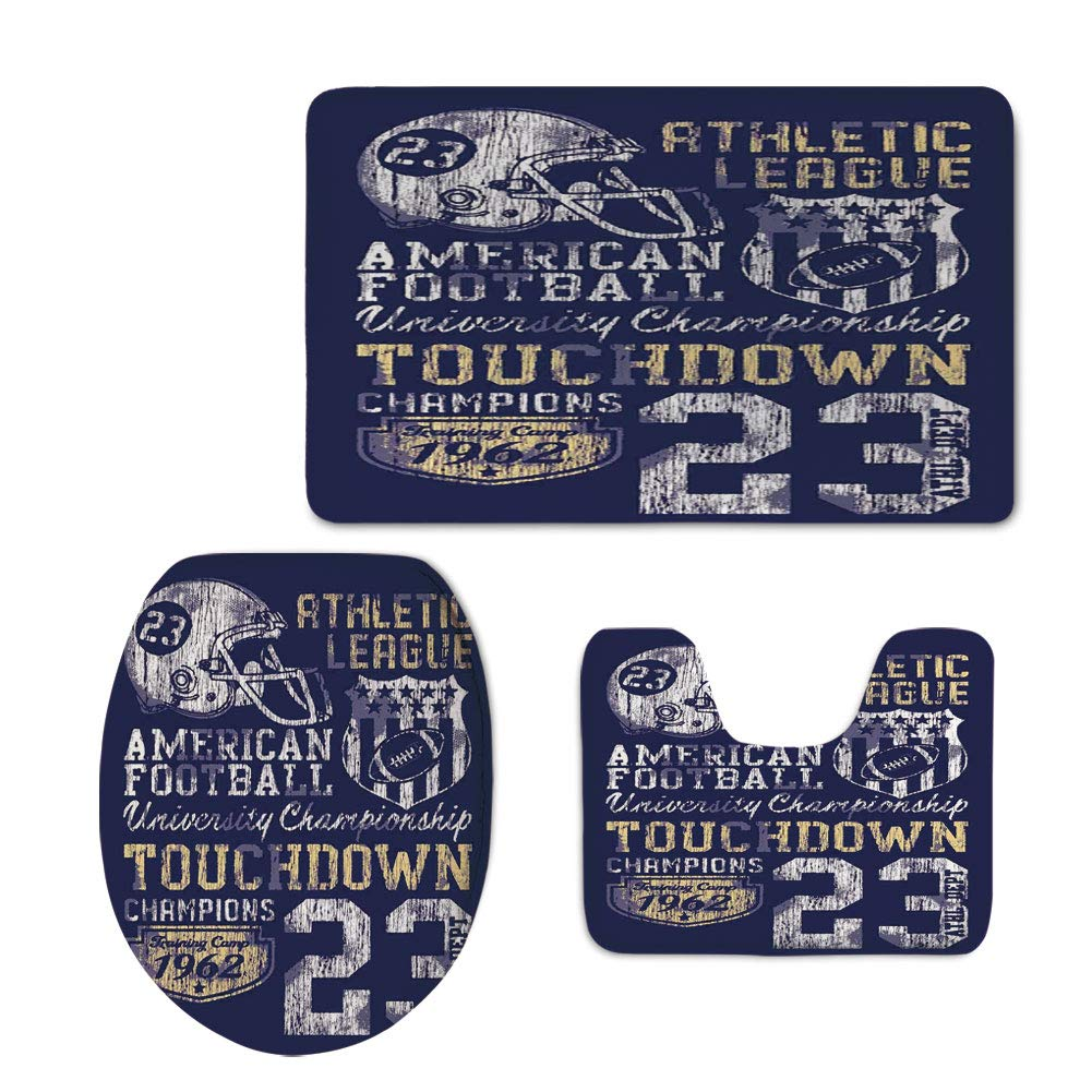 Fashion 3D Baseball Printed,Sports,Retro American Football College Illustration Athletic Championship Apparel Decorative,Purple White Yellow,U-Shaped Toilet Mat+Area Rug+Toilet Lid Covers 3PCS/Set