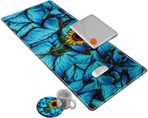 Desk Mat Gaming Mouse pad for Laptop, Blue Butterflies and Sunflower Customized Design Printed Desk pad, Home Office Accessories, with Sunflower Coasters and Cute Stickers