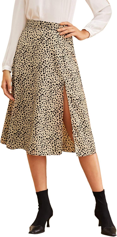 SweatyRocks Womens Casual Leopard Print High Split Side A-Line Midi Skirt