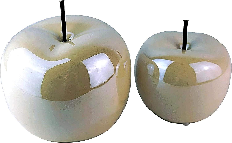 Juego de 2 figuras decorativas de cristal con forma de manzana, color blanco perla, de cerámica brillante, 15 cm de diámetro, 12 cm de altura, modernas figuras de cerámica, para el salón