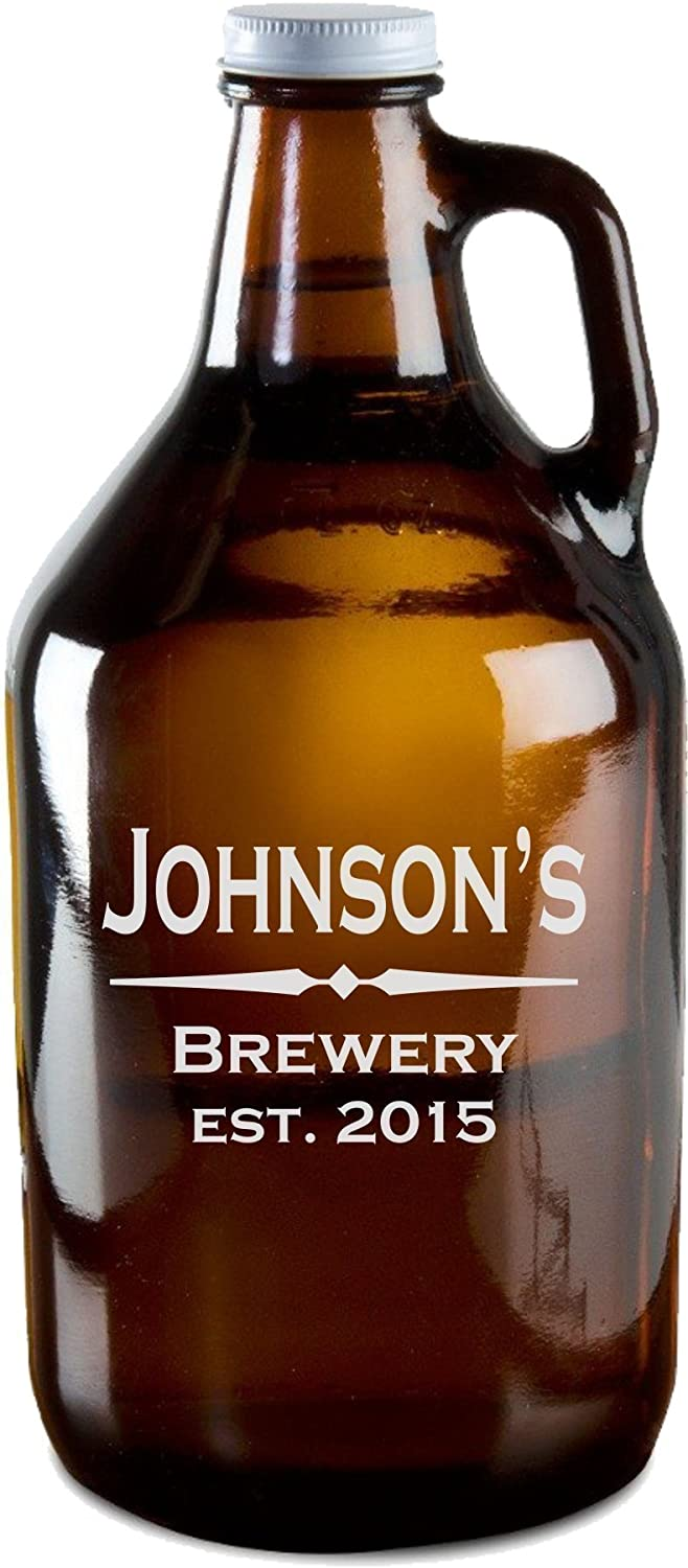 Personalized Beer Growler with Free Etching, 64 oz Amber Beer Growlers - GR01