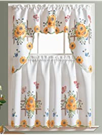 Delightful 3pcs Kitchen Curtain / Cafe Curtain Set, Air Brushed By Hand Of SUNFLOWER U0026