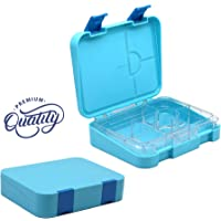 LunchUp Kids School and Adults Lunch Box Bento style | Leak Proof 4 to 6 Compartments and Easy Clean | Microwave and Dishwasher Safe & Food-Safe Materials (Sky Blue)