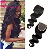 Queen Plus Hair 7A Grade Brazilian Virgin Human Hair Body Wavy 3 Bundles, 100% Unprocessed Virgin Remy Hair with Free Part (4×4) Top Lace Closure Natural Black Color Weave (18 20 22 with 16)