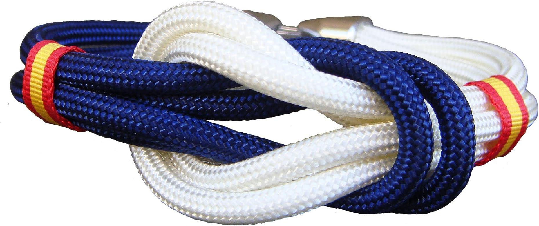 Pi2010 - Pulsera España Nudo Doble Blanco y Marino, 19cm / Cinta Bandera de España en Laterales/Recomendable medirse la muñeca: Amazon.es: Joyería