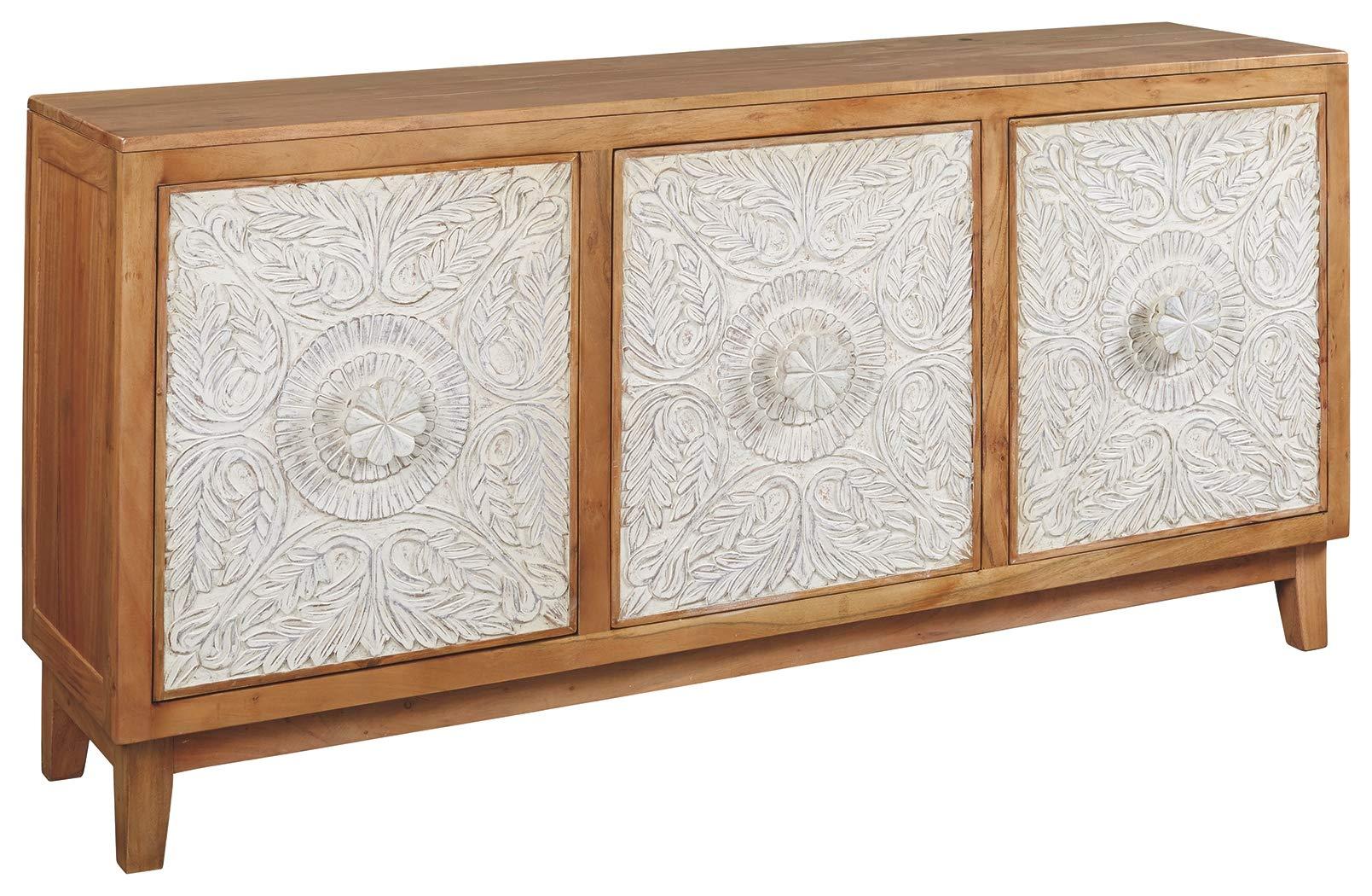 Ashley Furniture Signature Design - Lorenburg Accent Cabinet - Boho Chic - Antique White/Brown by Signature Design by Ashley