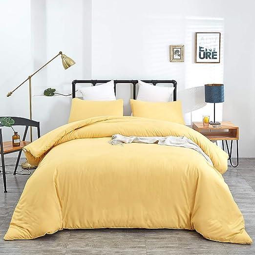 Amazon Com Jumeey Yellow Comforter Set Queen Solid Yellow Bedding