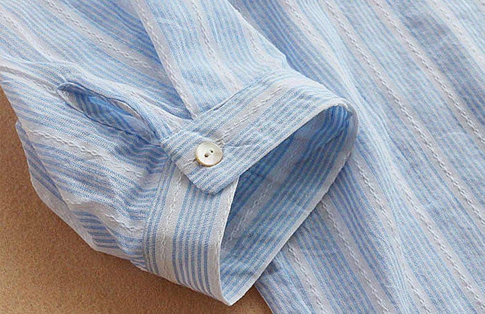 SHOBDW Las Mujeres de Moda destacan los Bolsillos del Cuello Rayas 3//4 Manga Larga Camisa Casual Blusa Suelta bot/ón oto/ño Invierno de Manga Larga Tops