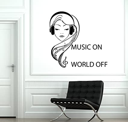 Amazon Com Resorv Decals Wall Vinyl Decal Music On World Off Quotes