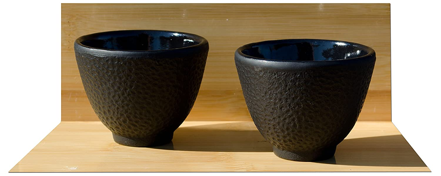 Cast iron black tea cup Hammered surface pattern design X2 Gifts Of The Orient GOTO®