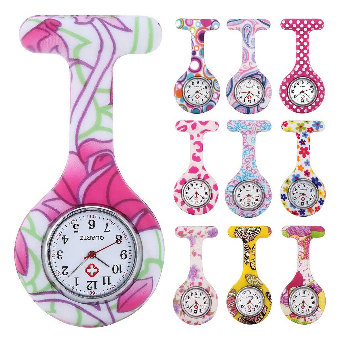 10pcs Floral Nurse Clip-on Fob Brooch Pocket Watch Lapel Watch for Women Girl (Pack #3) by Alienwolf
