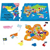 Imagimake Mapology World with Flags Capitals- with Country Shaped Pieces- Jigsaw Puzzle and Educational Toy for Boys and Girls Above 5 Years- Excellent Birthday Gift