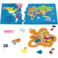 Imagimake Kids Mapology World Toy with Flags and Capitals Educational (Multicolour)