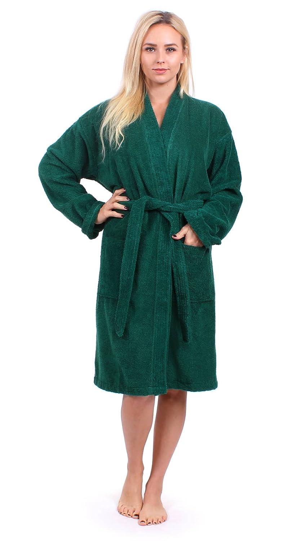 Turkuoise Womens Terry Cloth Robe 100% Premium Turkish Cotton Terry Kimono  Collar 82416c23c