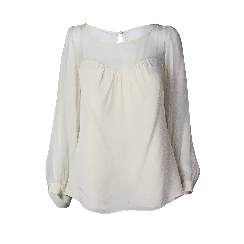 Leona by Lauren Leonard Womens Long Sleeve Silk Blouse