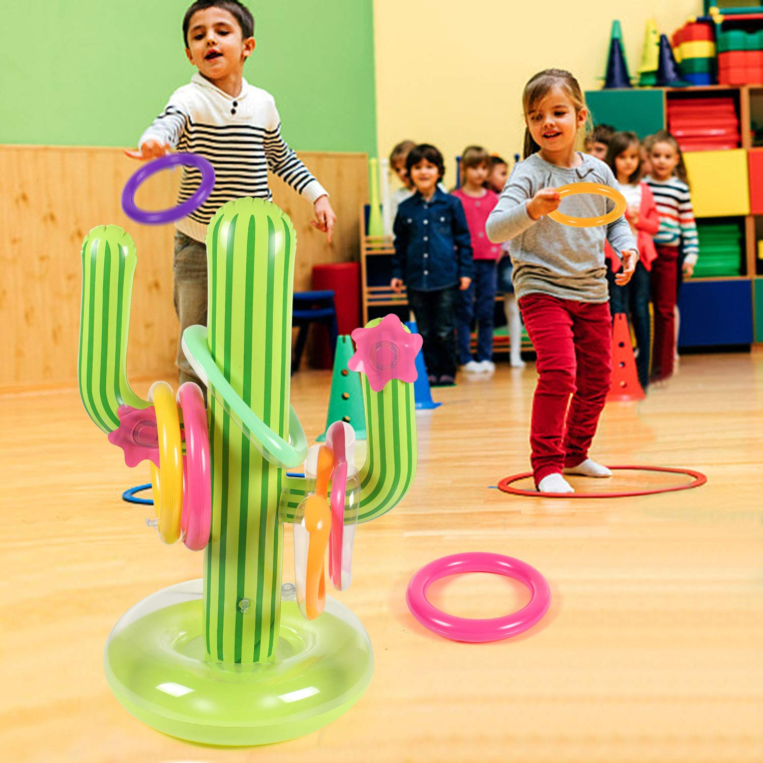 Bascolor 17Pcs Inflatable Ring Toss Game Set 1pcs Inflatable Cactus 6pcs Inflatable Toss Rings 9pcs Number Stickers 1pcs Flamingo Gift Box for Kids Adults Mexican Fiesta Pool Party Games Supplies