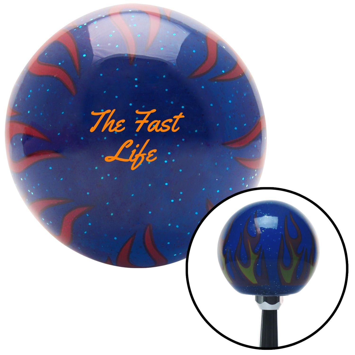 American Shifter 297917 Shift Knob Orange The Fast Life Blue Flame Metal Flake with M16 x 1.5 Insert