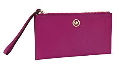 bbf4085ffff2 Image Unavailable. Image not available for. Color  Michael Kors Womens  Fulton Leather Pebble Grain Zip Clutch Wristlet - Ultra Pink ...