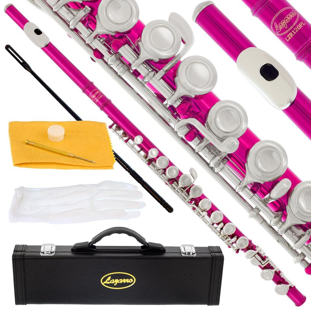120-RD - RED/NICKEL Keys Closed C Flute Lazarro+Pro Case,Care Kit - 10 COLORS Available ! CLICK on LISTING to SEE All Colors