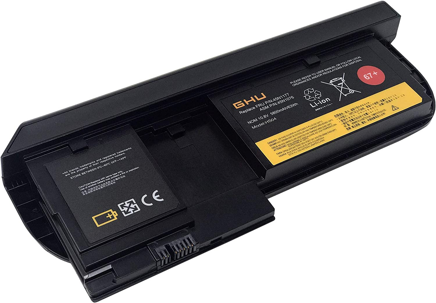 New GHU 63Wh Battery 67+ (0a36317) Compatible with Lenovo X220T Tablet and X230T Tablet 6 Cell, 63WH, 10.8V, 5800mAh, 12 Months Warranty
