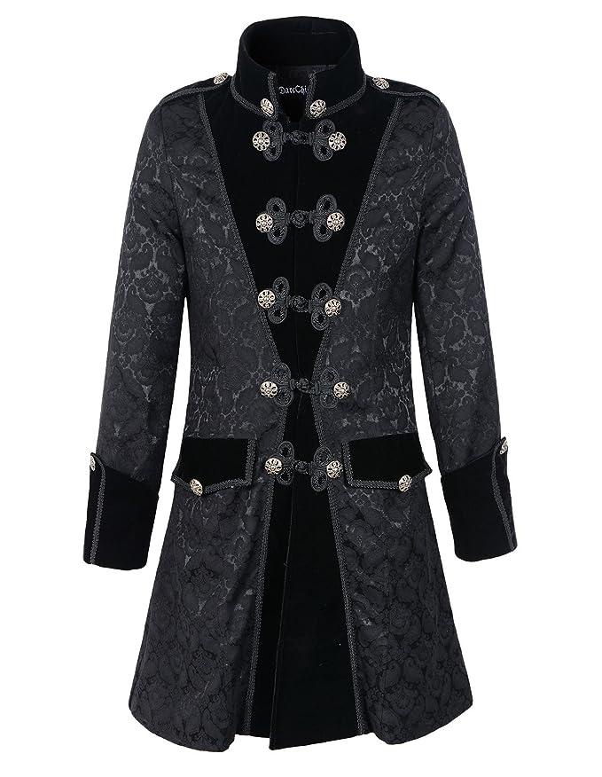 Masquerade Ball Clothing: Masks, Gowns, Tuxedos DarcChic Mens Black Gothic Brocade Jacket Frock Coat Steampunk VTG Victorian $95.00 AT vintagedancer.com