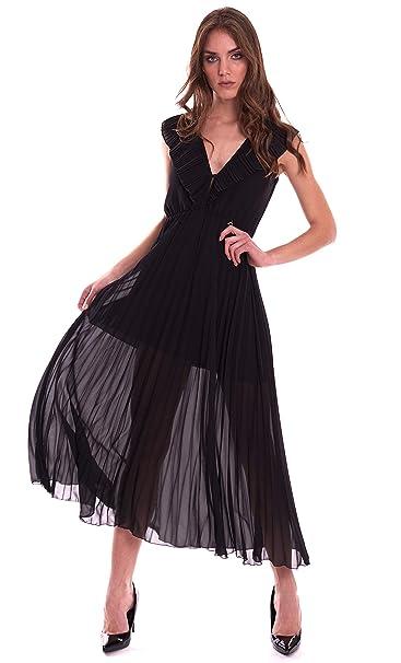 new products eb30c 51414 Dixie Abito Lungo Plisse' Nero: Amazon.it: Abbigliamento