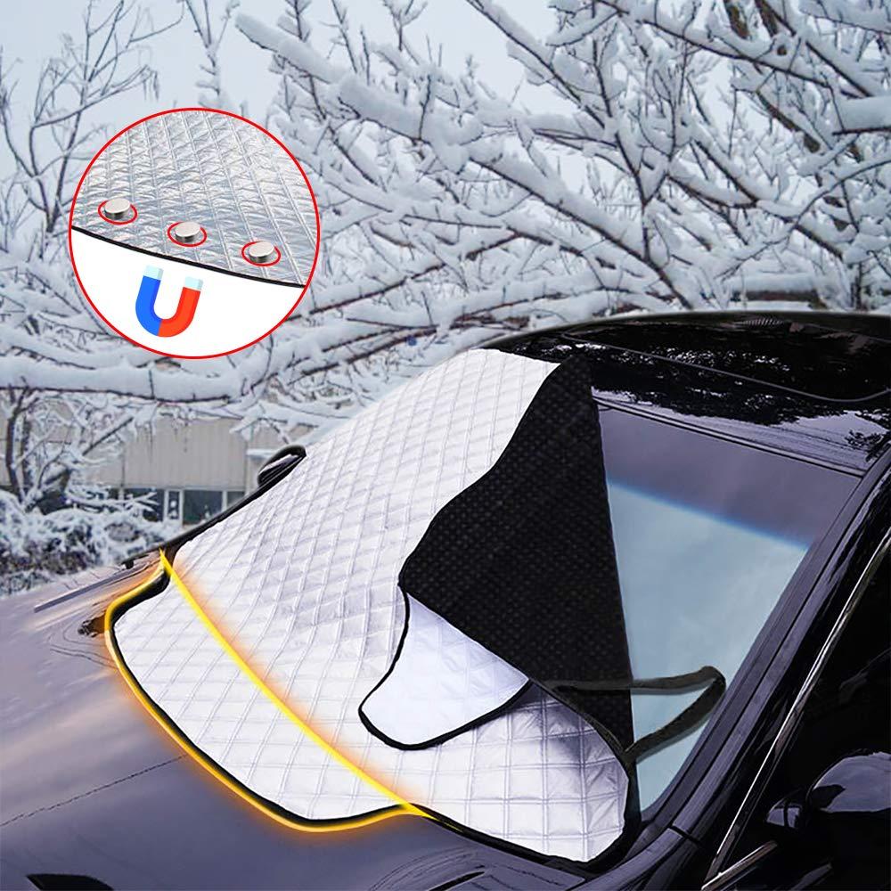 FREESOO Couverture Pare-Brise Voiture avec Magn/étiques Imperm/éable B/âche Pare Brise Avant Anti Givre Neige Anti UV Soleil Protection pour Pare-Brise de Voiture Universel Couverture pour Voiture SUV
