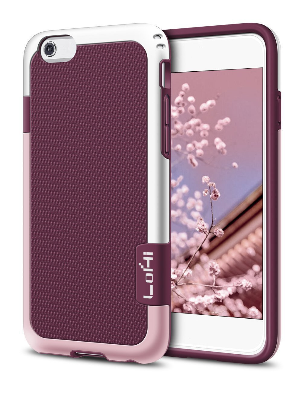 iPhone 6 Case LoHi Rubber Silicone Rugged Heavy Duty Protection Hybrid Cover Shock-Absorption Anti-Scratch Stylish Bumper Case for iPhone 6/6S Red