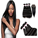 Fabeauty Best Quality 100% 7a Unprocessed Brazilian Virgin Hair Straight Weave Mixed Length 3 Bundles with Lace Closure Human Hair Extensions Weft with Closure(44)