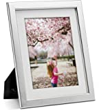 JD Concept 8.5x11 Silver Wood Picture Frame, 6x8 with Mat or 8.5 x 11 Without Mat, Modern Design for Document, Diploma…