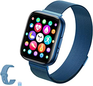 Sebay Smart Android Watch, Fitness Tracker Watches for Men/Women, Smart Watch for Android Phones/iOS, Blood Pressure Watches for Women, Digital Watch Womens and Step Counter (T99 Blue)
