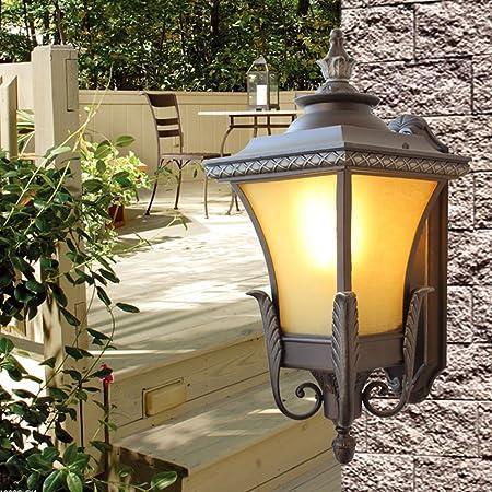 Hdmy Aplique exterior Lámpara de pared París Jardín Linterna Iluminación exterior Antiguo Moho Aluminio Vintage Retro Patio Sombra de vidrio Balcón Aplique de pared: Amazon.es: Hogar