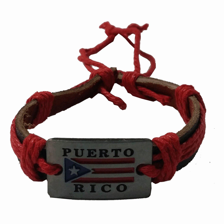 5ba6e60bba1e7 Amazon.com: Leather Bracelet Red Puerto Rico Flag Metal Plaque: Clothing