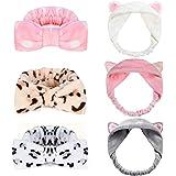 Onshine 6 Pcs Bow Makeup Headband and Cat Ear Hair Bands Cute Shower Spa Headband Running