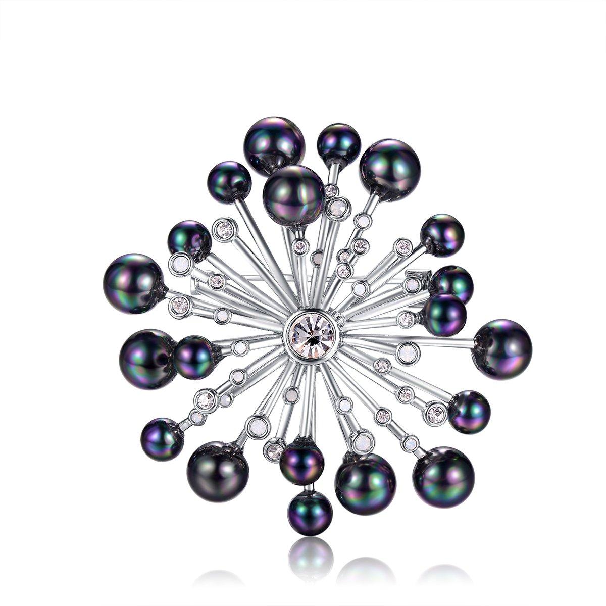 YOUWANG Women's Crystal Colorful Gray Simulated Pearl Elegant Brooch Pin Silver-Tone
