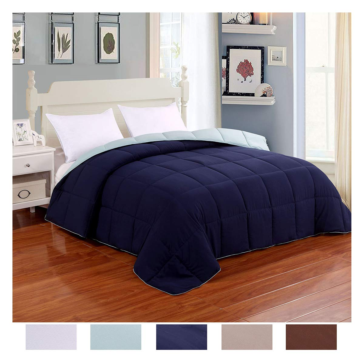 Homelike Moment Lightweight Reversible Comforter Down Alternative Queen All Season Duvet Insert Microfiber Comforter Navy/Light Blue Full/Queen Size with Corner Tabs Hypoallergenic