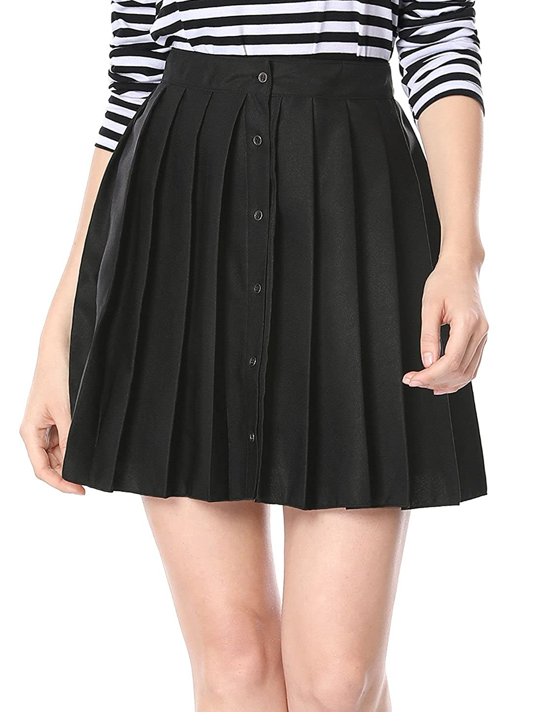 Allegra K Women's Pleated Button Closure Front Above Knee A-line Skirt