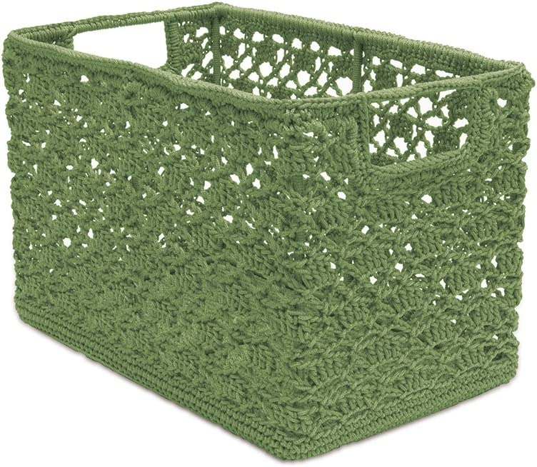 "Heritage Lace Sage Mode Crochet 12""x7""x8"" Wire Basket"