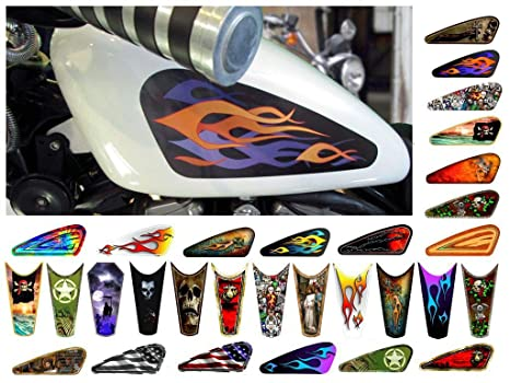 East Coast Vinyl Werkz Motorcycle Gas Tank Decals/Sets - for Harley  Davidson Sportster Honda Shadow Suzuki Kawasaki Indian Yamaha (Layered Old  School