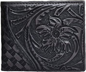 men brown cowboy tan floral tooled woven long small bifold inlay western wallet