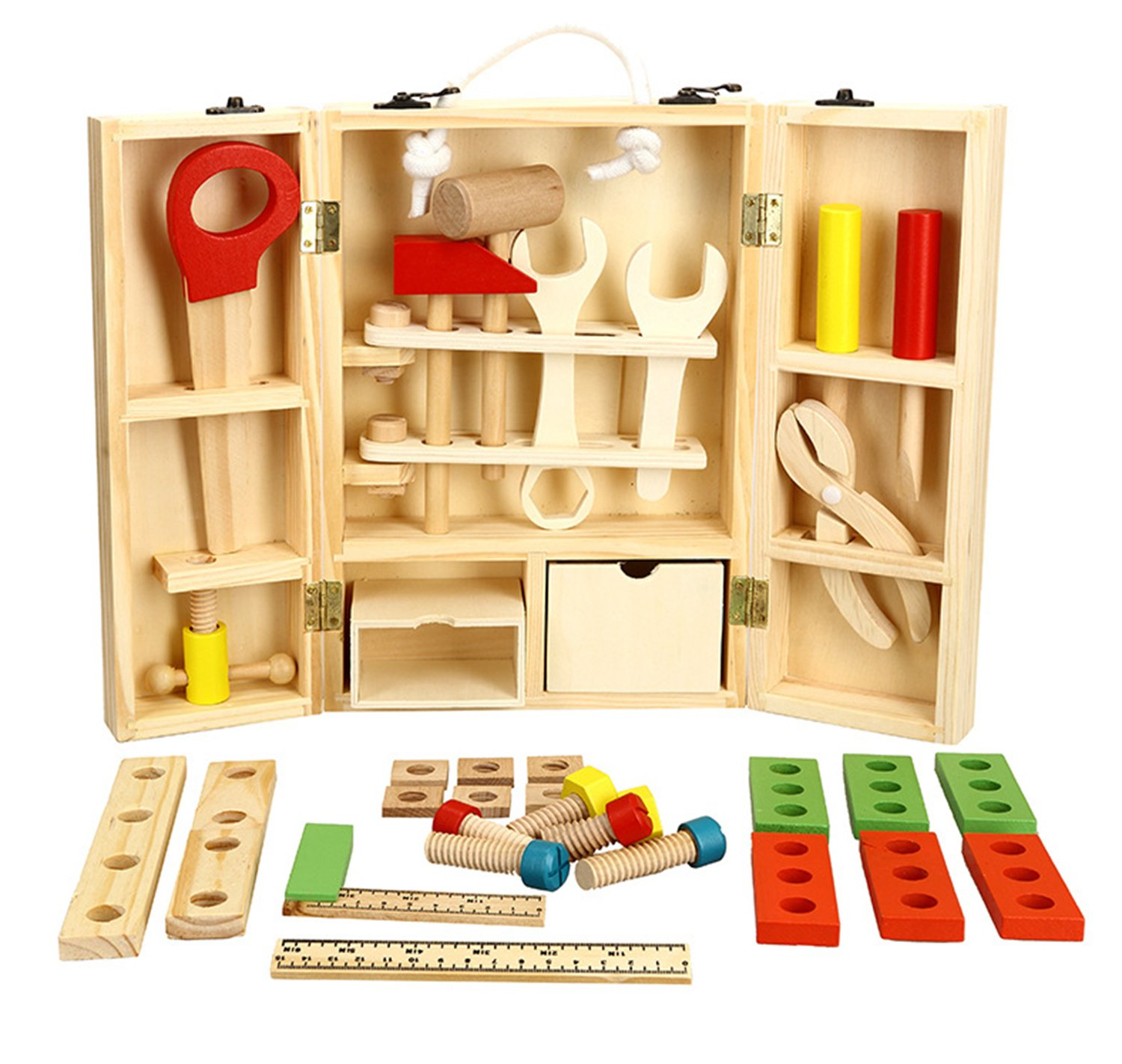 Lewo Wooden Tool Toys Pretend Play Toolbox Accessories Set Educational Construction Toys for Kids by Lewo