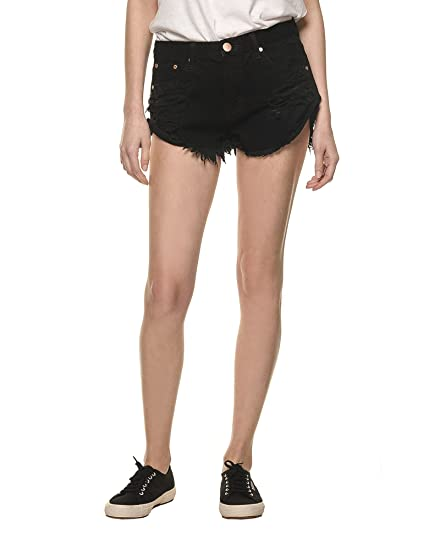 49bbba6dcaaa Glamorous Women's Denim Shorts in Black in Size X-Small: Amazon.co ...