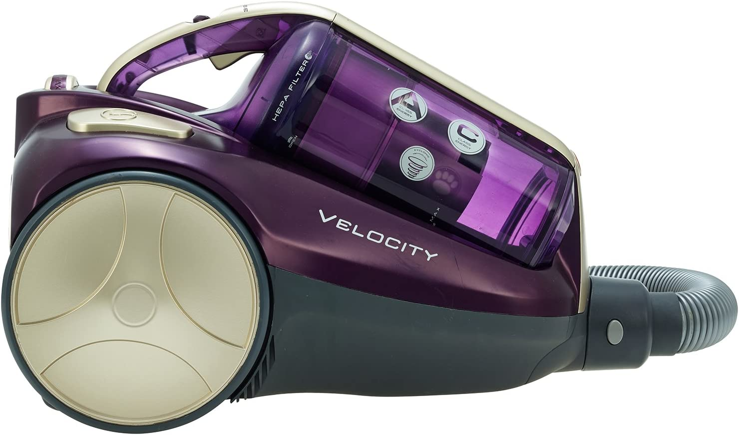 Hoover Velocity Bagless Cylinder Vacuum Cleaner, RU80VE11, Variable Suction Power, Easy Empty, Cyclonic Purple