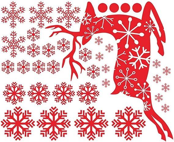 Jaysis Stickers pour Fen/être Autocollants Decoration De No/ël Muraux Vitres Livre Vitrine Scrapbooking Cadeau Etoiles Flocon De Neige Cuisine Pas Cher Repositionnable Amovibles La Maison