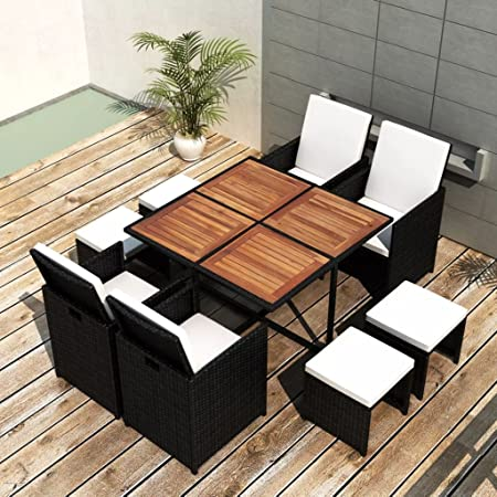 Space Saving 13 Piece Dining Table Garden Furniture Set Tidyard Outdoor Patio Dining Set Steel Frame Comfortable Cushions Wood Tabletop Poly Rattan Black Dining Sets Patio Furniture Sets