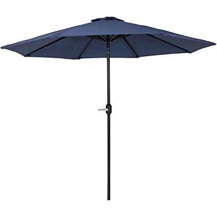 Amazon.com  Sunnydaze 9-Foot Outdoor Patio Umbrella with Fade Resistant Umbrella Canopy Auto Tilt u0026 Crank Rust Resistant Aluminum Navy Blue  Garden u0026 ...  sc 1 st  Amazon.com & Amazon.com : Sunnydaze 9-Foot Outdoor Patio Umbrella with Fade ...