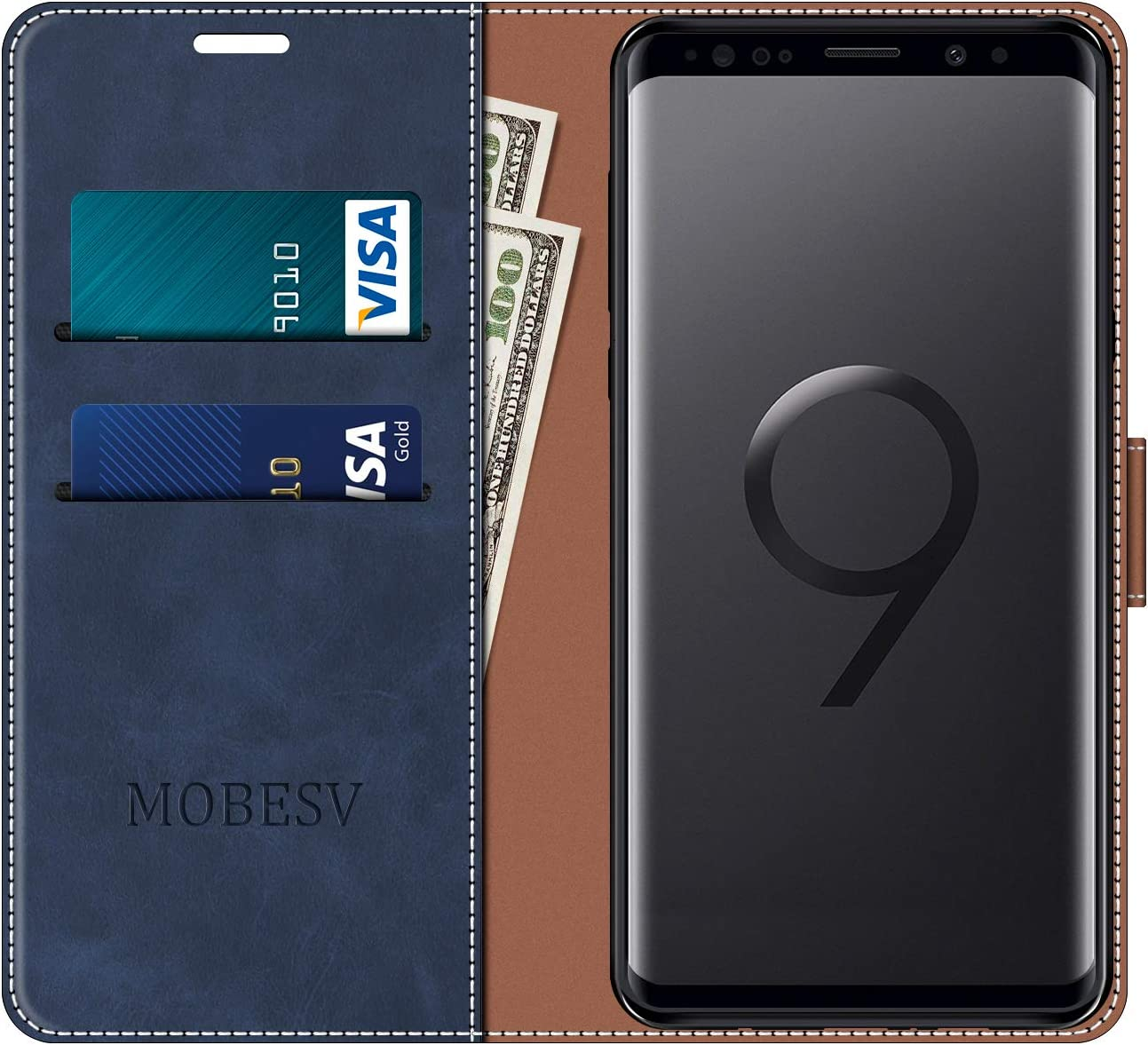 Housse en Cuir Samsung Galaxy S9 /Él/égant Noir /Étui T/él/éphone Samsung Galaxy S9 Magn/étique Etui Housse pour Samsung Galaxy S9 MOBESV Coque pour Samsung Galaxy S9