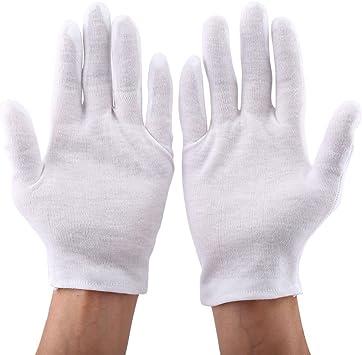 12pares/set Guantes de Trabajo Guantes de Algodón Blanco para Joyería Monedas Plata Inspección: Amazon.es: Bricolaje y herramientas