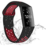 Hotodeal Sport Bands Compatible Charge 3 Bands Waterproof Soft Silicone Replacement Breathable Bands for Women Men Charge 3 Accessories, Small Large Size, Black/red, Small
