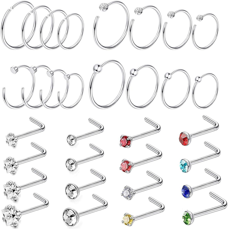 PiercingJ 62pcs 20G Stainless Steel Czech Crystal Nose Studs L Bone Screw Shaped Nose Rings Nostril Septum Hoops Body Piercing Jewelry for Women Men